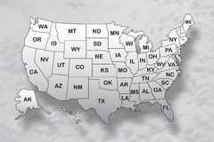 Poster map of United States of America with state names and shadow on the sky background. Black and white print map of USA for t-shirt, poster or geographic stock illustration