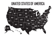 Poster Map Of United States Of America With State Names. Black And