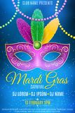 Poster for Mardi Gras carnival. Mask for a masquerade. Luxurious mask with colorful feathers. DJ name. Festive flyer. Blue smoke. vector illustration