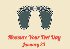 Poster for Measure Your Feet Day (January 23) Royalty Free Stock Photo