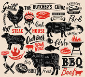 Poster meat steak. House with scheme lettering Royalty Free Stock Photos