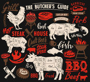 Poster meat steak. House with scheme lettering Stock Images