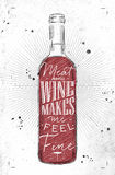 Poster meat and wine. Poster wine bottle lettering meat and wine makes me feel fine drawing in vintage style on dirty paper background Royalty Free Stock Photo