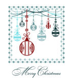 Poster Merry Christmas. Festive background Christmas. Pattern with Christmas balls. Perfect for banners, posters, invitations and greeting cards for the winter Stock Images