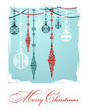 Poster Merry Christmas. Festive background Christmas. Pattern with Christmas toys and balls. Perfect for banners, posters, invitations and greeting cards for the Royalty Free Stock Image