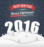 Poster Merry Christmas and Happy New Year. Poster Design (card) Merry Christmas and a Happy New Year with a winter landscape and 3D text in 2016. Dark sky stock illustration
