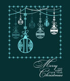 Poster Merry Christmas and Happy New Year. Festive background Christmas and a happy New Year. Pattern with Christmas balls. Perfect for banners, posters Royalty Free Stock Photos