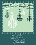 Poster Merry Christmas and Happy New Year. Festive background Christmas and a happy New Year. Pattern with Christmas balls. Perfect for banners, posters Royalty Free Stock Images