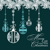Poster Merry Christmas and Happy New Year. Festive background Christmas and a happy New Year. Pattern with Christmas balls. Perfect for banners, posters Stock Image