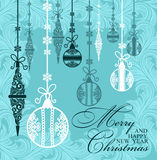 Poster Merry Christmas and Happy New Year. Festive background Christmas and a happy New Year. Pattern with Christmas toys and balls. Perfect for banners, posters Stock Photography