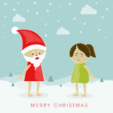 Poster of Merry Christmas with santa and little girl. Royalty Free Stock Photography