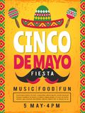Poster of mexican fiesta. Design template of party invitation stock illustration