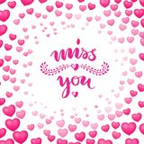 Poster, miss you, heart bubbles around. Vector illustration, frame of pink and red balloons on romantic background with inscription. Handdrawn text on theme of royalty free illustration