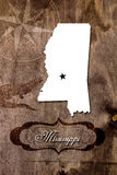 Poster Mississippi state map outline. Styling for tourism stock image