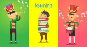 Poster mit Kindercharakteren des schulpflichtigen Alters Musiker spielen Musikinstrumente Stockbild