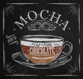 Poster mocha chalk. Poster coffee mocha in vintage style drawing with chalk on the blackboard Stock Image