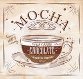 Poster mocha kraft. Poster coffee mocha in vintage style drawing on kraft Stock Image