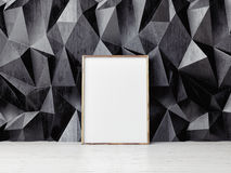 Poster mock up, black pattern wall background, 3d illustration Royalty Free Stock Photography