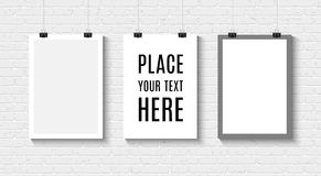 Poster mock up on the brick wall. Vector Blank paper poster mock up with space for text and your design on white brick wall. Three paper sheets with clips. Paper stock illustration