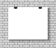 Poster mock up on the brick wall Royalty Free Stock Image