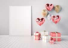 Poster mock up with pink and golden glossy 3d realistic balloons in heart shape with stick. Valentine`s Day or wedding day romantic themes for party, events Stock Image