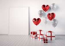 Poster mock up with red and silver glossy 3d realistic balloons in heart shape with stick. Valentine`s Day or wedding day romantic themes for party, events Stock Photos