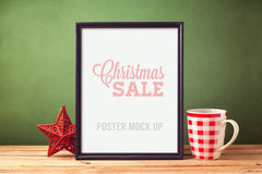 Poster mock up template for Christmas Stock Photography