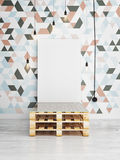 Poster mock up on triangle pattern wall, 3d render Stock Images