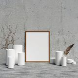 Poster Mockup on Concrete Wall with Interior Decorations. A poster Mockup on Concrete Wall with Interior Decorations 3D render stock illustration