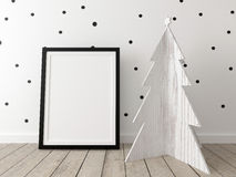 Poster mockup with a wooden christmas tree Stock Image