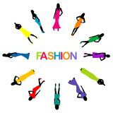 Poster with model women silhouette and word fashion vector illustration