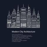 Poster Modern Big City. Poster White Modern Big City on Black Background and Text, Architecture Megapolis with Buildings and Skyscraper, City Financial Center in Stock Image