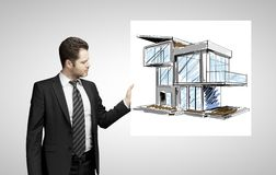 Poster with modern house Stock Photos