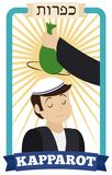 Man Waving Money Bag over Head of Boy for Kapparot, Vector Illustration Stock Images