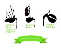 Poster with Most Popular Bagpipes Royalty Free Stock Images