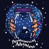 Poster for mountaineering with magical jar in hands and starry sky Royalty Free Stock Photo