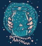 Poster for mountaineering with magical jar in hands and starry sky Stock Photography