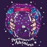 Poster for mountaineering with magical jar in hands and starry sky Stock Image