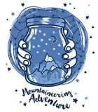 Poster for mountaineering with magical jar in hands and starry sky Stock Photos