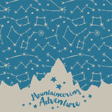 Poster for mountaineering with mountain silhouette on starry sky Royalty Free Stock Image