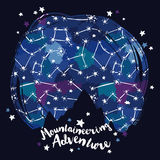 Poster for mountaineering with mountain silhouette on starry sky Stock Photos