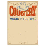 Poster music festival background with cowboy hat.Vector isolated Stock Photos