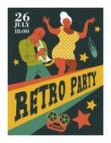 Poster music festival, retro party in the style of the 70`s, 80`s. Vector illustration with stylish musicians characters. Poster music festival, retro party in vector illustration