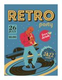 Poster music festival, retro party in the style of the 70`s, 80`s. The musician plays the trumpet. Jazz music. Vector illustration.  vector illustration