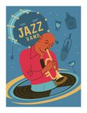 Poster music festival, retro party in the style of the 70`s, 80`s. The musician plays the trumpet. Jazz music. Vector illustration.  royalty free illustration