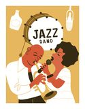 Poster music festival, retro party in the style of the 70`s, 80`s. Jazz party. Afro musician plays the trumpet. Afro woman singing. Vector illustration royalty free illustration