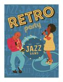 Poster music festival, retro party in the style of the 70`s, 80`s. Jazz party. Afro musician plays the trumpet. Afro woman singing. Vector illustration stock illustration