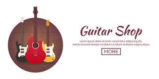 Poster with musical instruments. Guitar shop. Flat design. Stock Photos