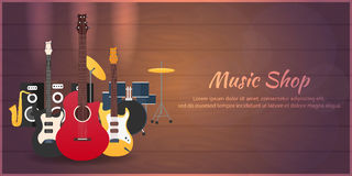 Poster with musical instruments. Music shop. Guitar. Flat design. Royalty Free Stock Photography