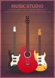 Poster with musical instruments. Music studio. Guitar. Flat design. Stock Photos